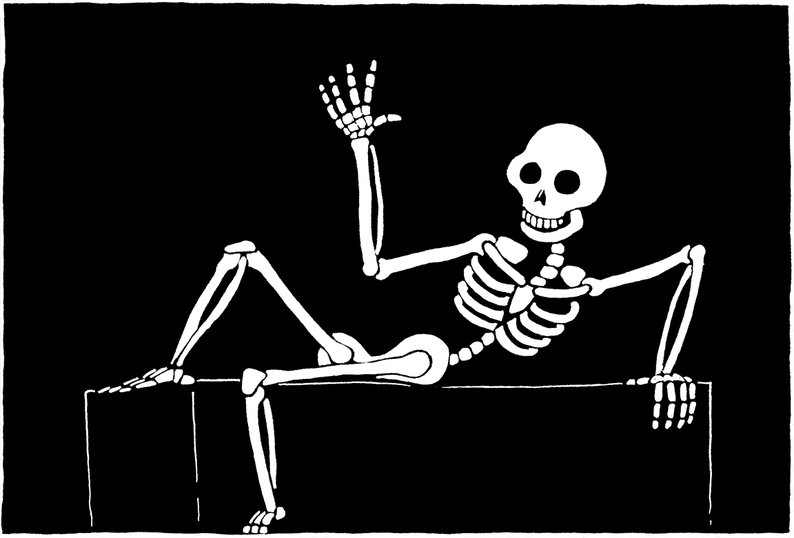 A skeleton waving hello.